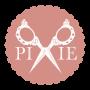 Pyöreä roosa logo pixie